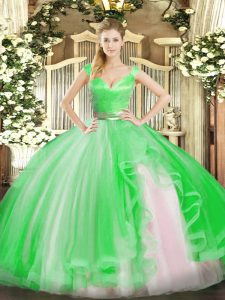 Nice Sleeveless Tulle Floor Length Zipper Sweet 16 Quinceanera Dress in Green with Beading and Ruffles