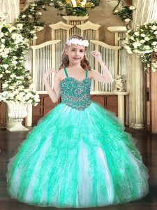 Elegant Floor Length Lace Up Pageant Dresses Apple Green for Party and Quinceanera with Beading and Ruffles