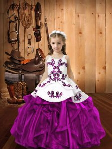 Fuchsia Ball Gowns Embroidery and Ruffles Little Girls Pageant Dress Lace Up Organza Sleeveless Floor Length
