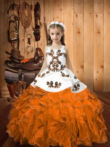 Fashion Straps Sleeveless Lace Up Little Girl Pageant Dress Orange Organza