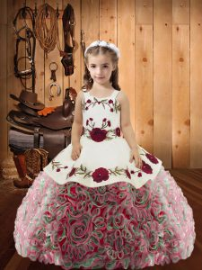 Adorable Floor Length Ball Gowns Sleeveless Multi-color Child Pageant Dress Lace Up