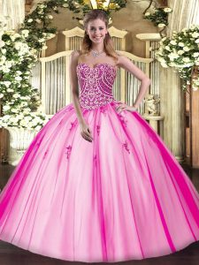 Inexpensive Hot Pink Tulle Lace Up Quince Ball Gowns Sleeveless Floor Length Beading