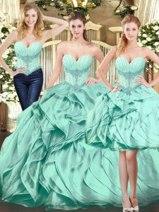 Exceptional Floor Length Lace Up Quinceanera Dresses Apple Green for Military Ball and Sweet 16 and Quinceanera with Beading and Ruffles