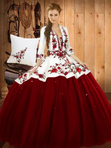 Deluxe Wine Red Sweetheart Lace Up Embroidery Sweet 16 Quinceanera Dress Sleeveless