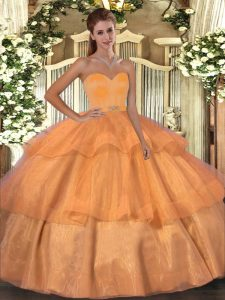 Organza Sleeveless Floor Length Sweet 16 Quinceanera Dress and Beading and Ruffled Layers