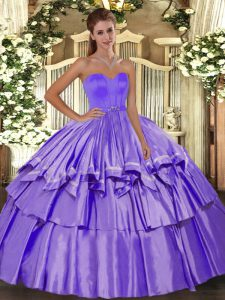 Lavender Sleeveless Floor Length Beading and Ruffled Layers Lace Up Ball Gown Prom Dress