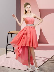 Hot Sale High Low Lace Up Vestidos de Damas Watermelon Red for Prom and Party and Wedding Party with Beading