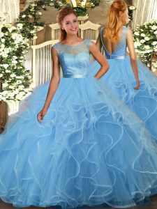 Baby Blue Tulle Backless Scoop Sleeveless Floor Length 15th Birthday Dress Lace and Ruffles