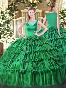 Elegant Turquoise Ball Gowns Organza Scoop Sleeveless Beading and Ruffled Layers Floor Length Side Zipper Sweet 16 Dress