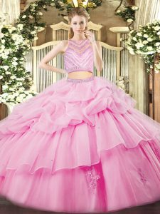 Spectacular Rose Pink Tulle Zipper 15 Quinceanera Dress Sleeveless Floor Length Beading and Ruffles