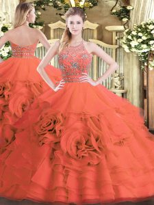 Luxury Halter Top Sleeveless Sweet 16 Dresses Floor Length Beading and Ruffled Layers Red Tulle