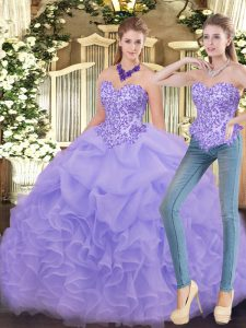 Shining Sleeveless Floor Length Appliques and Ruffles Zipper Sweet 16 Dresses with Lavender