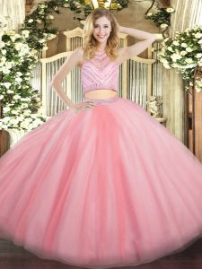 Baby Pink 15th Birthday Dress Military Ball and Sweet 16 and Quinceanera with Beading Scoop Sleeveless Zipper