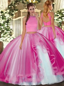 New Style Hot Pink Sweet 16 Dresses Military Ball and Sweet 16 and Quinceanera with Beading and Ruffles Halter Top Sleeveless Backless