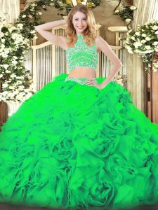 Elegant Green Sleeveless Tulle Backless Quince Ball Gowns for Military Ball and Sweet 16 and Quinceanera