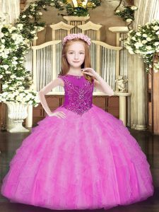 Beading and Ruffles Winning Pageant Gowns Rose Pink Zipper Sleeveless Floor Length