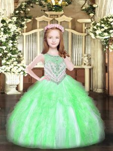 Apple Green Zipper Girls Pageant Dresses Beading and Ruffles Sleeveless Floor Length