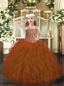 Ball Gowns Kids Pageant Dress Rust Red Straps Tulle Sleeveless Floor Length Lace Up