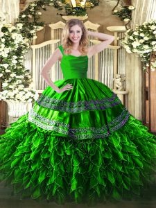 Trendy Green Organza Zipper Quinceanera Dress Sleeveless Floor Length Appliques and Ruffles
