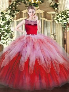 Great Multi-color 15th Birthday Dress Sweet 16 and Quinceanera with Beading and Ruffles Scoop Sleeveless Zipper