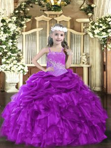 Purple Straps Neckline Beading and Ruffles Pageant Gowns For Girls Sleeveless Lace Up