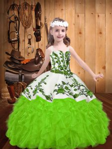 Straps Lace Up Embroidery and Ruffles Kids Formal Wear Sleeveless