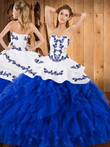 eb146ce8ce8  370.66  222.38  Sumptuous Royal Blue Strapless Neckline Embroidery and  Ruffles Vestidos de Quinceanera Sleeveless Lace Up