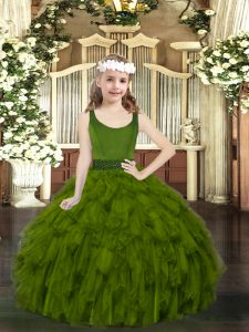 Nice Organza Sleeveless Floor Length Pageant Gowns For Girls and Beading and Ruffles