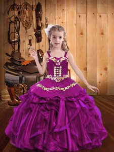 Fuchsia Straps Lace Up Embroidery and Ruffles Girls Pageant Dresses Sleeveless