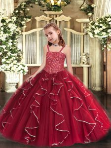 Affordable Red Sleeveless Beading and Ruffles Floor Length Child Pageant Dress