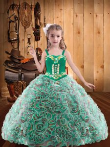 Elegant Fabric With Rolling Flowers Sleeveless Floor Length Kids Formal Wear and Embroidery and Ruffles