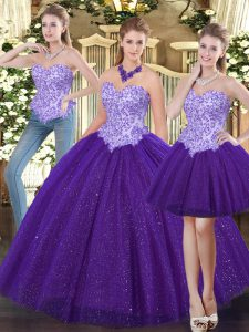 Stylish Floor Length Purple Quinceanera Dress Sweetheart Sleeveless Lace Up