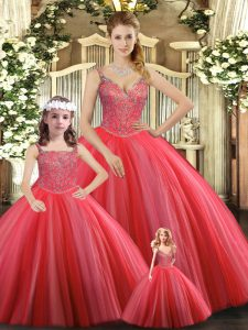 Floor Length Coral Red Sweet 16 Dress Tulle Sleeveless Beading
