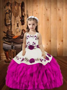Fuchsia Organza Lace Up Little Girls Pageant Gowns Sleeveless Floor Length Beading and Ruffles