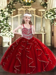 Wine Red Straps Lace Up Beading and Ruffles Little Girls Pageant Dress Sleeveless