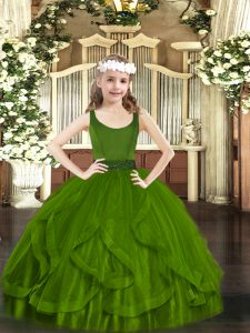 Great Olive Green Zipper Scoop Beading and Ruffles Kids Pageant Dress Tulle Sleeveless