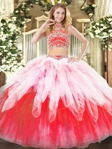 Classical Multi-color Sleeveless Tulle Backless 15th Birthday Dress for Military Ball and Sweet 16 and Quinceanera