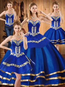 Luxury Sweetheart Sleeveless 15th Birthday Dress Floor Length Embroidery Blue Satin and Tulle