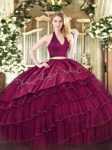 Burgundy Two Pieces Organza and Taffeta Halter Top Sleeveless Embroidery and Ruffled Layers Floor Length Zipper 15 Quinceanera Dress