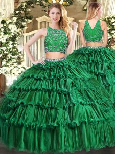 Custom Design Sleeveless Beading and Appliques and Ruffled Layers Zipper Ball Gown Prom Dress