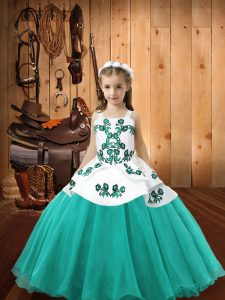 Aqua Blue Organza Lace Up Little Girls Pageant Gowns Sleeveless Floor Length Embroidery