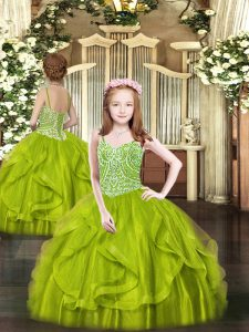 Tulle Sleeveless Floor Length Pageant Dress for Womens and Beading and Ruffles