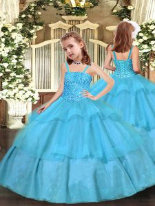 Sleeveless Organza Floor Length Lace Up Little Girl Pageant Dress in Aqua Blue with Beading and Ruffled Layers