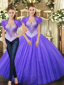 Comfortable Purple Sweet 16 Dresses Military Ball and Sweet 16 and Quinceanera with Beading Straps Sleeveless Lace Up