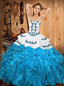 Fine Embroidery and Ruffles Quinceanera Gowns Teal Lace Up Sleeveless Floor Length