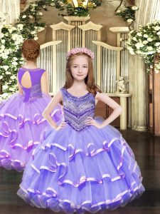 Sleeveless Organza Floor Length Lace Up Pageant Gowns For Girls in Lavender with Beading and Ruffled Layers