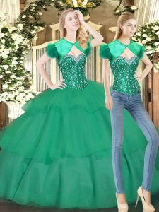 Floor Length Lace Up Quinceanera Dress Turquoise for Military Ball and Sweet 16 and Quinceanera with Beading and Ruffled Layers