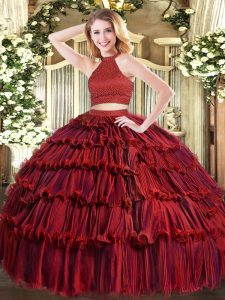 Dramatic Halter Top Sleeveless Backless Quinceanera Gowns Wine Red Organza