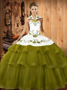 Halter Top Sleeveless Organza Quinceanera Gown Embroidery and Ruffled Layers Sweep Train Lace Up