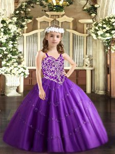 Gorgeous Purple Ball Gowns Beading and Appliques Pageant Gowns Lace Up Tulle Sleeveless Floor Length